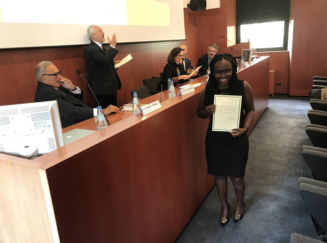 Gender Equality - Valerian, in foto, dopo la laurea in economia ad Arusha ed il Master MSDG alla LUMSA